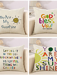Set Of 4 Sunshine Quotes & Sayings Colorful Printing Pillow Cover Creative Pillow Case Sofa Cushion Cover