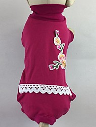 abordables -Gato Perro Camiseta Mono Pijamas Pantalones Ropa para Perro Flores / Botánica Rosa Verde Algodón Disfraz Para mascotas Hombre Mujer