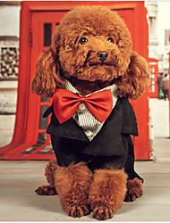 Недорогие -Собака Плащи смокинг Одежда для собак Формальный Очаровательный День рождения На каждый день Косплей Английский Черный Костюм Для