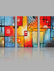 cheap -IARTS Oil Painting Modern Abstract Colorful Geometric Figure Set of 3 Art Acrylic Canvas Wall Art For Home Decoration