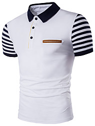 Men's Casual/Daily Simple Polo,Striped Color Block Shirt Collar Short Sleeves Cotton Polyester