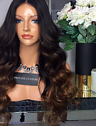 cheap -Virgin Human Hair Wig Brazilian Hair Body Wave With Baby Hair Glueless Natural Hairline Ombre Hair Short Medium Long 180% Density Women's