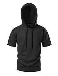 Sweat à capuche Homme Athlétique Quotidien Décontracté Sports Vêtements de Plein Air Couleur Pleine Micro-élastique Taffetas en Polyester