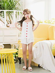 Women's 2 Pcs Shorts Sleepwear Suit Sleeveless Sexy Comfy Pajamas Suit