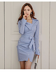 Women's Going out Casual/Daily Work Cute Street chic Bodycon Dress,Striped V Neck Above Knee Long Sleeve Polyester All Seasons Mid Rise