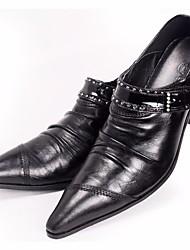 preiswerte -Herren Schuhe Echtes Leder Frühling Komfort Outdoor Für Normal Schwarz