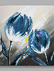 IARTS®Hand Painted Blue Flowers Oil Painting   with Stretched Frame For Home Decoration