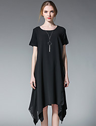 Women's Plus Size Casual/Daily Simple Loose Black and White Dress,Patchwork Round Neck Asymmetrical Short Sleeve Modal Chiffon SummerHigh