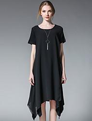 Ample Noir et blanc Robe Femme simple,Mosaïque Col Arrondi Asymétrique Manches Courtes Modal Mousseline de soie Eté Taille Haute