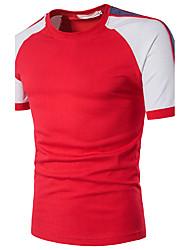 baratos -Homens Camiseta - Festa Estampa Colorida Algodão Decote Redondo