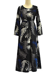 Women's Plus Size Boho Swing Dress,Print Round Neck Maxi Long Sleeve Polyester Summer High Rise Micro-elastic Medium