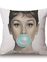 1 Pcs Classic Audrey Hepburn Blow Bubbles Pillow Cover Personality Classic Pillow Case 45*45Cm Sofa Cushion Cover