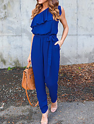 cheap -Women's Going out Jumpsuit - Solid Colored, Ruffle One Shoulder