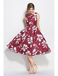 economico -Fodero Vestito Da donna-Feste Per uscire Casual Vintage Semplice Sofisticato Fantasia floreale Rotonda Medio Senza manicheTaffetà in