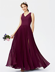 cheap -A-Line V-neck Floor Length Chiffon Bridesmaid Dress with Split Front Pleats by LAN TING BRIDE®