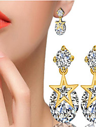 cheap -Women's AAA Cubic Zirconia / Synthetic Diamond Stud Earrings - Gold Plated Star Fashion, Cute White / Yellow and Gold For Gift / Daily / Casual