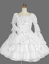 cheap -Gothic Lolita Dress Princess Women's Girls' One Piece Dress Cosplay White Cap Long Sleeves