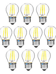 abordables -BRELONG® 10pcs 4W 300 lm E27 Ampoules à Filament LED G45 4 diodes électroluminescentes COB Intensité Réglable Blanc Chaud Blanc AC