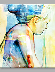 cheap -IARTS Oil Painting Modern Hand Painted Abstract A White Hair Woman is Thinking Art Acrylic Canvas Wall Art For Home Decoration