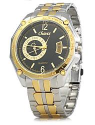 cheap -Men's Dress Watch Quartz Calendar / date / day Alloy Band Analog Vintage Gold - Black