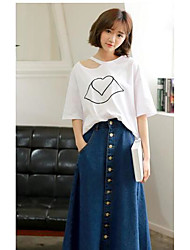 Women's Casual/Daily Midi Skirts Swing Solid Spring Summer