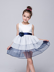 A-Line Knee Length Flower Girl Dress - Chiffon Taffeta Sleeveless Crew Neck with Applique by Bflower