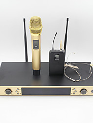 cheap -UHF Karaoke Wireless Microphone System With BodyPack Handheld Transmitter Headset  Microphone