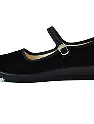 cheap -Women's Shoes Fabric Spring Comfort Flats Wedge Heel Round Toe Buckle for Office & Career Black