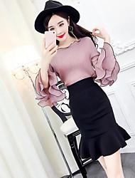 abordables -Mujer Simple Casual/Diario Verano T-Shirt Falda Trajes,Escote Redondo Un Color Manga 1/2 Microelástico