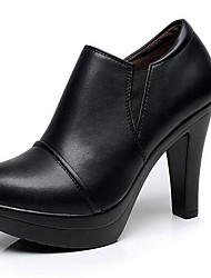 cheap -Women's Heels Formal Shoes Leatherette Spring Fall Office & Career Chunky Heel Brown Black 5in & over