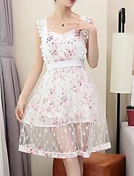 Chemisier Jupe Costumes Femme,Fleur Anniversaire Quotidien Soirée Robes Jupes Style floral Printemps Eté Sans Manches Micro-élastique
