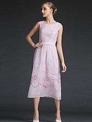 YHSPWomen's Daily Homecoming Going out Simple Sophisticated A Line Sheath DressSolid Embroidery Fashion Round Neck Midi Sleeveless Polyester