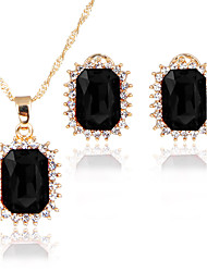 cheap -Women's AAA Cubic Zirconia Cubic Zirconia Adorable Jewelry Set 1 Necklace / 1 Pair of Earrings - Classic / Euramerican / Fashion Square
