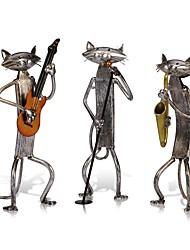 cheap -3Pcs Orchestra Band Musician Figurines Mini Cat Craft Animal Modern Sculpture Home Decoration Accessories Creative Gift