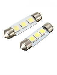 2W 39MM  Festoon 3LED SMD5050 DC12V Licence Plate Dome Interior Light Led Lamp Car LED Bulb Parking 2PCS