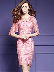Feminino Tubinho Bainha Vestido,Festa Simples Sofisticado Sólido Bordado Decote Redondo Altura dos Joelhos Tule Verão Cintura Baixa Sem