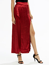 Mujer Faldas,Corte Bodycon Un Color Separado,Sencillo Chic de Calle Tiro Alto Fiesta/Cóctel Discoteca Maxi Elasticidad Poliéster