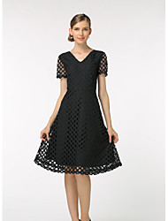 cheap -Women's Daily Work Casual Sophisticated Shift Dress,Solid Round Neck Knee-length Short Sleeves Polyester Summer Mid Rise Inelastic Thin