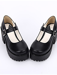 cheap -Lolita Shoes Gothic Lolita Dress Punk Lolita Dress Vintage Inspired Handmade Lolita Chunky Heel Solid Color Lolita 8 CM Black For PU