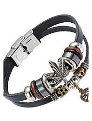 Недорогие -Муж. Кожаные браслеты - Кожа Природа, Мода Браслеты Черный Назначение Особые случаи / Подарок / Спорт