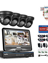 SANNCE® 4CH 1080P LCD DVR Weatherproof Security System Supported 720P Analog AHD TVI IP Camera Without HDD