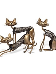 Three Cats Figurines One Set Three Kittens Handmade Metal Sculpture Collection Home Decoration Accessories Creative Gift
