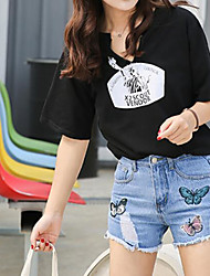 cheap -Women's Mid Rise Micro-elastic Wide Leg Jeans Pants,Street chic Print Summer