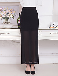 Women's Midi Skirts,Sexy Simple Bodycon Pure Color Chiffon Layered Solid
