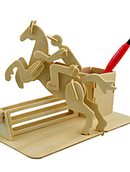 cheap -3D Puzzles Jigsaw Puzzle Wood Model Model Building Kit Horse Toys 3D Simulation DIY Wood Classic Unisex Gift