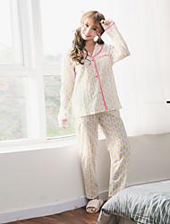 Women's 2 Pcs Pants Sleepwear Suit Long Sleeve Pineapple Pattern Pajamas Suit