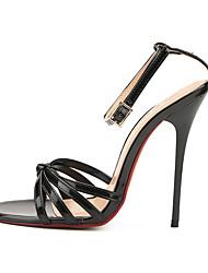 preiswerte -Damen Schuhe PU Sommer Herbst Fersenriemen Pumps Sandalen Stöckelabsatz Runde Zehe für Party & Festivität Weiß Schwarz Rot