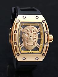 Недорогие -Муж. Повседневные часы Спортивные часы Модные часы Кварцевый силиконовый Черный Защита от влаги Творчество Cool Аналоговый Роскошь Винтаж На каждый день Череп Кольцеобразный -  / Один год / KC 377A