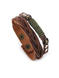 preiswerte -Herrn Lederarmbänder - Leder Natur, Modisch Armbänder Braun Für Besondere Anlässe Geschenk Sport