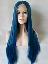 cheap -Women Synthetic Lace Front Wig Medium Length Long Straight Blue Natural Wigs Costume Wig